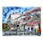 savannah_river_street_painting, sabana GA Riv… Tarjetas Postales