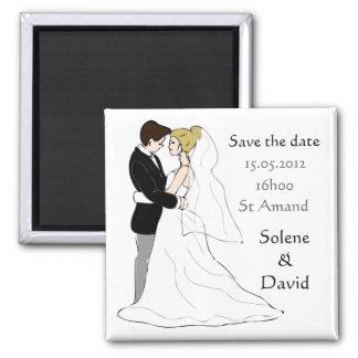 Save the data magnet par de casados imán cuadrado