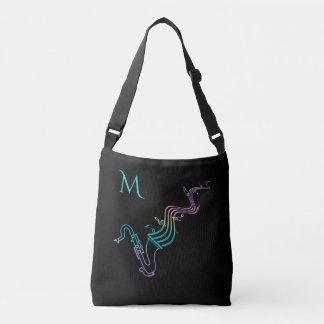Saxofón colorido en la bolsa de asas adaptable del