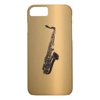 Saxofón en el efecto de cobre de bronce funda iPhone 7