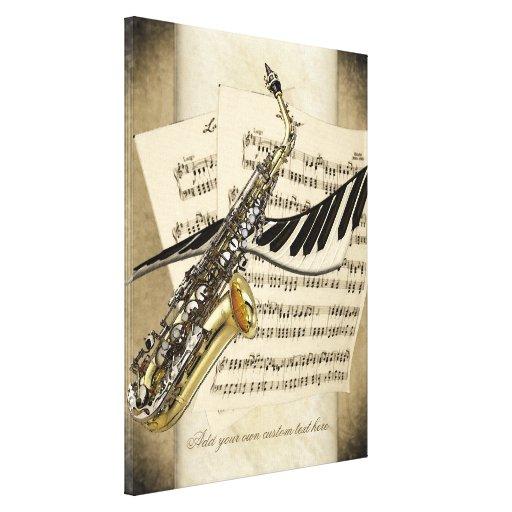 Saxofón y lona personalizada piano de la pared lona estirada galerias