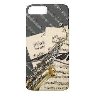 Saxofón y música del piano funda iPhone 7 plus