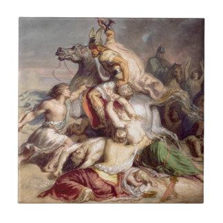 Scène de bataille, à más guerrier de los gaulois azulejo cuadrado pequeño