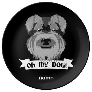 Schnauzer lindo oh mi perro plato de cerámica