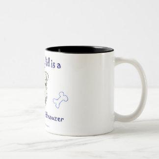 schnauzer miniatura taza de café de dos colores