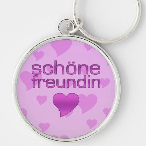 Schöne corazones rosados y púrpuras de Freundin de Llaveros Personalizados