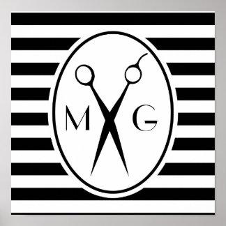 Scissor la peluquería de caballeros del estilista póster