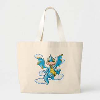 Scorchio azul con su cabeza en las nubes bolsa tela grande