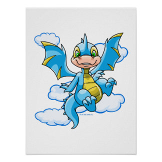 Scorchio azul con su cabeza en las nubes póster