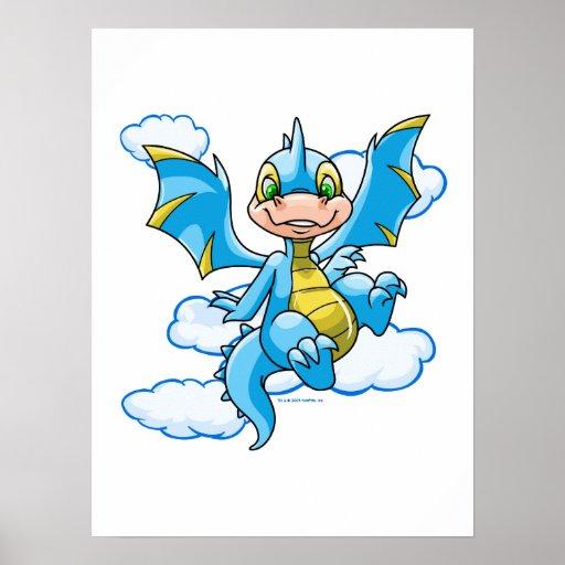 Scorchio azul con su cabeza en las nubes impresiones
