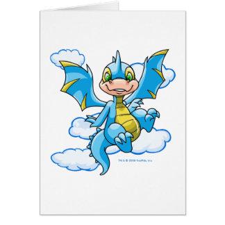 Scorchio azul con su cabeza en las nubes tarjeta de felicitación
