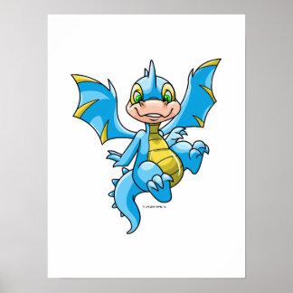 Scorchio azul curioso póster