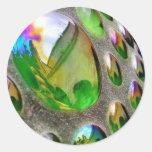 Scupture verde refleja el vidrio pegatina redonda