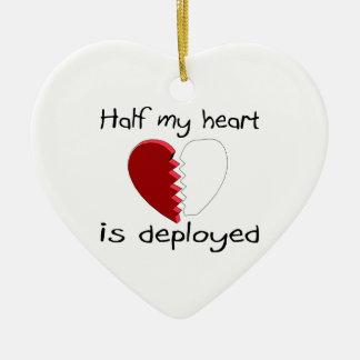 Se despliega la mitad de mi corazón adorno navideño de cerámica en forma de corazón
