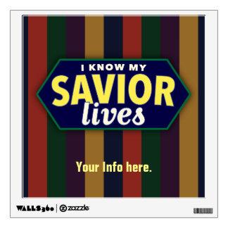 Sé mis vidas del salvador. Etiqueta de la pared de