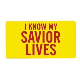 Sé mis vidas del salvador. etiquetas (amarillo) etiquetas de envío
