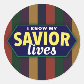 Sé mis vidas del salvador. Etiquetas engomadas Pegatina Redonda