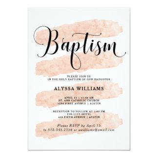 Se ruboriza el bautismo rosado de la acuarela de invitación 12,7 x 17,8 cm