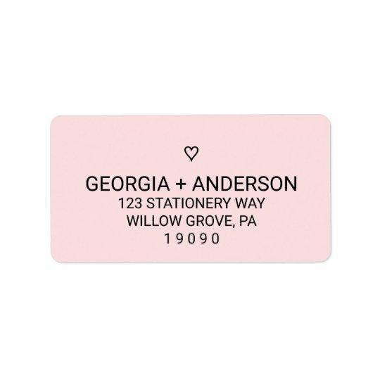 Se ruboriza el boda simple rosado del corazón etiquetas de dirección
