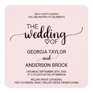 Se ruboriza el boda simple rosado del cuadrado de invitación 13,3 cm x 13,3cm