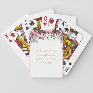 Se ruboriza el favor del boda del confeti del oro barajas de cartas