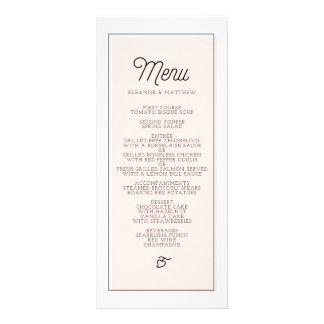 Se ruboriza el menú minimalista del boda del plantilla de lona
