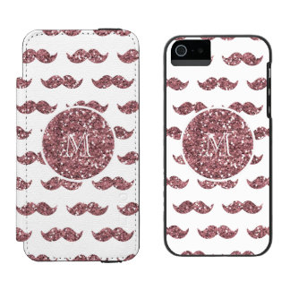 Se ruboriza el modelo rosado del bigote del brillo funda cartera para iPhone 5 watson