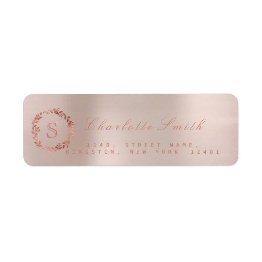 Se ruboriza el monograma color de rosa rosado RSVP Etiquetas De Remite
