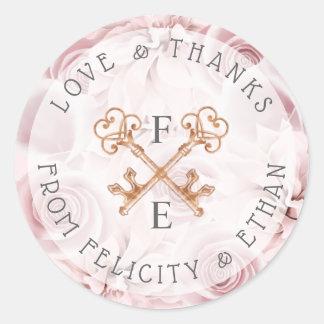 Se ruboriza el pegatina floral rosado del boda de