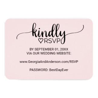 Se ruboriza el Web site simple rosado RSVP del Invitación 8,9 X 12,7 Cm
