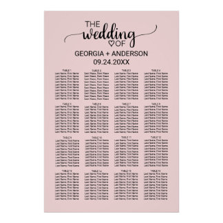 Se ruboriza la carta rosada del asiento del boda póster