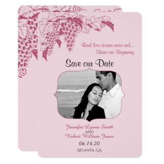 Se ruboriza la reserva del boda de la vid la fecha invitación 12,7 x 17,8 cm