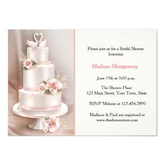 Se ruboriza la torta con gradas, rosas, cisnes, invitación 12,7 x 17,8 cm