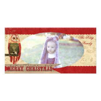 Se ruboriza tarjeta roja y de marfil del búho del tarjetas personales
