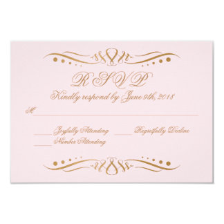 Se ruboriza y la invitación RSVP del boda del oro