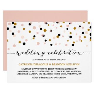 Se ruborizan, el oro y el boda moderno de los invitación 12,7 x 17,8 cm