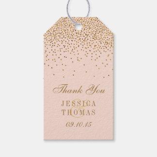 Se ruborizan el rosa y el boda del confeti del oro etiquetas para regalos