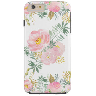 Se ruborizan el rosa y las flores de la acuarela funda resistente iPhone 6 plus