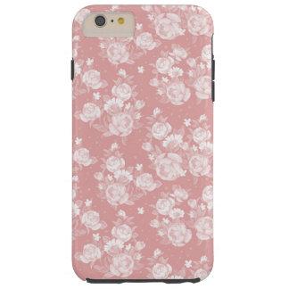 Se ruborizan florales elegantes del vintage blanco funda resistente iPhone 6 plus