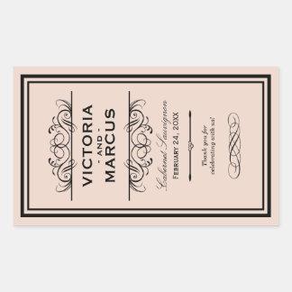 Se ruborizan las etiquetas del favor del monograma pegatina rectangular
