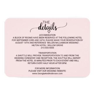 Se ruborizan los detalles simples rosados del boda invitación 8,9 x 12,7 cm