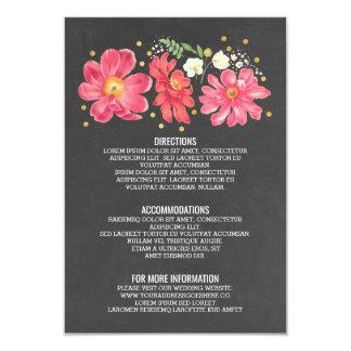 Se ruborizan y los detalles del boda de la pizarra invitación 8,9 x 12,7 cm