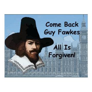 Se vuelve Guy Fawkes que perdonan todo Postal