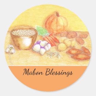 Sea agradecido para el hogar de cosecha de Mabon Pegatina Redonda
