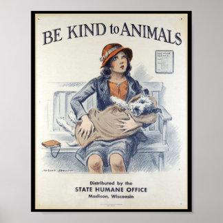 Sea bueno con los animales - poster del vintage póster