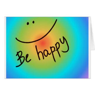 """""""Sea"""" cara sonriente colorida feliz, manuscrita Felicitacion"""