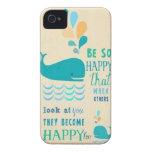 ¡Sea caso feliz del iPhone 4 de la ballena! iPhone 4 Case-Mate Carcasas