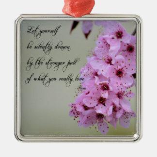 Sea dibujado por lo que usted ama la flor de adorno navideño cuadrado de metal