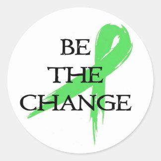Sea el cambio - mes de la conciencia de la salud pegatina redonda