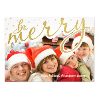 Sea feliz foto retra del navidad de la escritura invitación 11,4 x 15,8 cm
